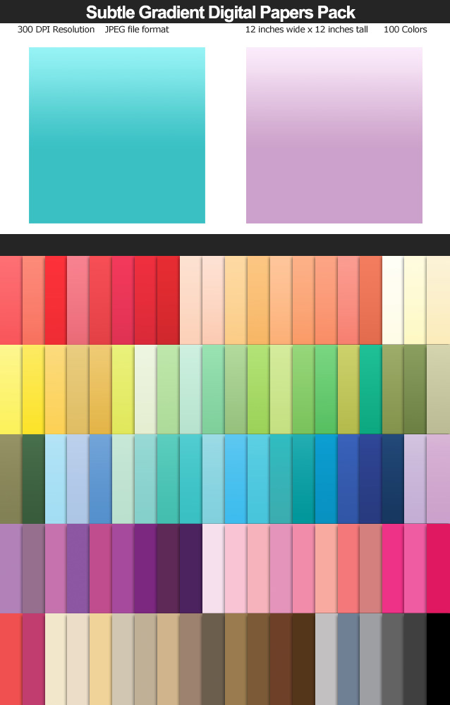100 Colors Subtle Gradient Digital Paper Pack 12x12 inches