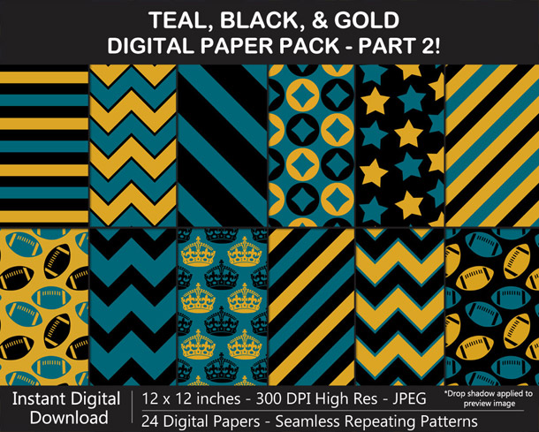 Love these fun teal, black, and gold digital papers!
