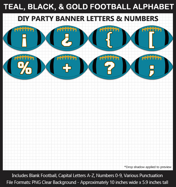 Love these fun Teal, Black, and Gold Football clipart for game day decoration - Letters, Numbers, Punctuation - Go Jaguars!