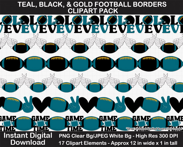 Love these fun teal, black, and gold football borders for scrapbooks, signs, and bulletin boards. Go Jaguars!