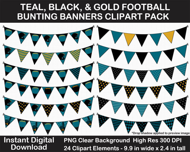 Love these fun Teal, Black, Gold Football Theme Bunting Banner Clipart - Go Jaguars!