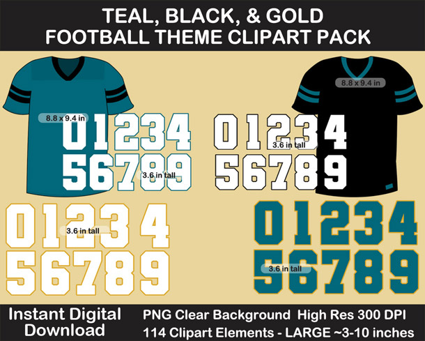 Love these fun Teal, Black, and Gold Football Theme Clipart - Letters, Numbers, Punctuation - Go Jaguars!