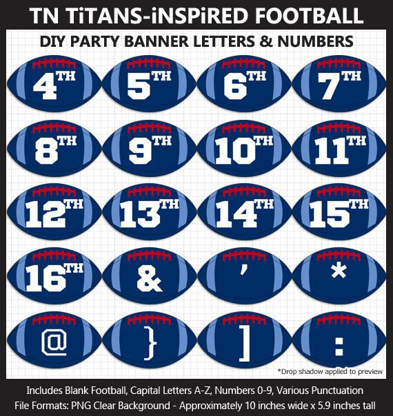 Love these fun Tennessee Titans Football clipart for game day decoration - Letters, Numbers, Punctuation