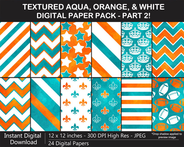 Love these fun watercolor texture aqua, orange, and white digital papers!