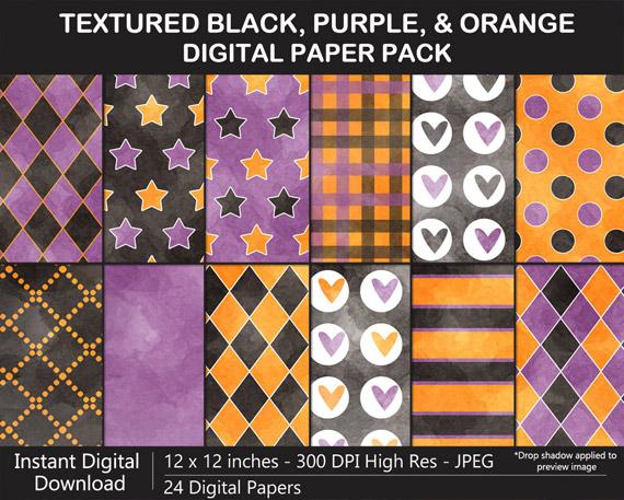 Black, Purple, and Orange Digital Paper Pack for Halloween