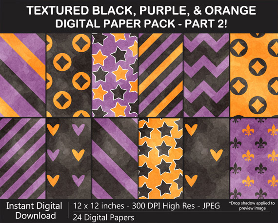 Love these watercolor black, orange, and purple pattern digital papers for Halloween!