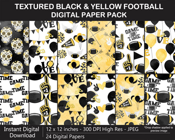 Love these fun watercolor texture black and yellow football digital papers - Go Steelers!