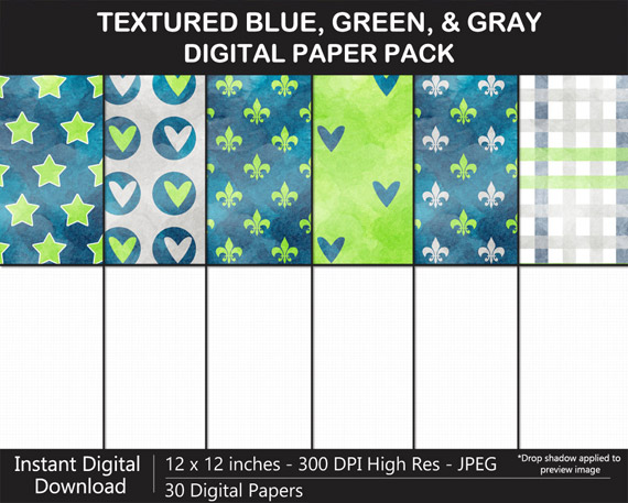 Love these watercolor texture blue, green, and gray pattern digital papers!