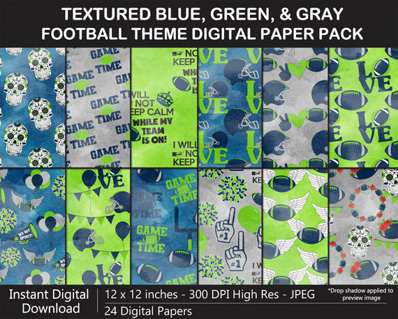 Blue, Green, and Gray Digital Paper Pack