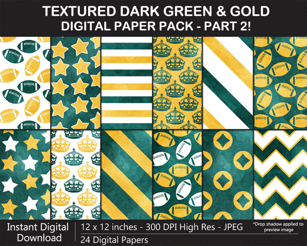 Love these fun watercolor-textured dark green and gold digital papers!