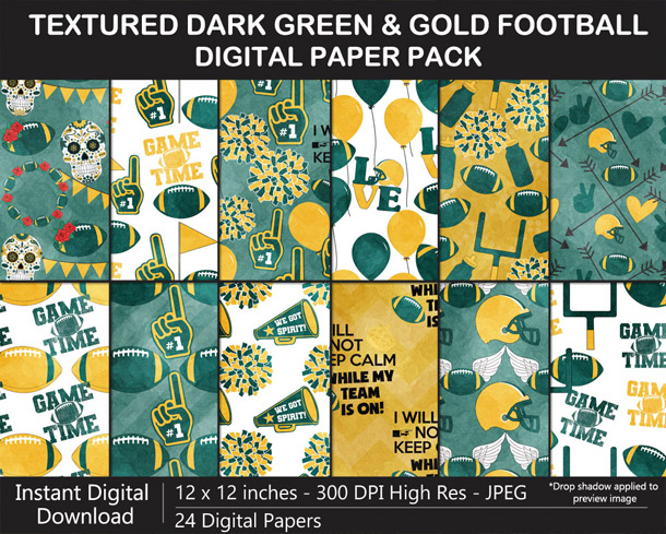 Love these fun Watercolor Texture Dark Green and Gold Football Digital Scrapbook Papers - Go Packers!