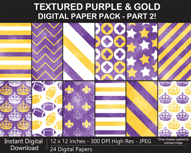 Love these fun watercolor texture purple and gold digital papers!