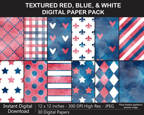 Red, Blue, White Digital Paper Pack