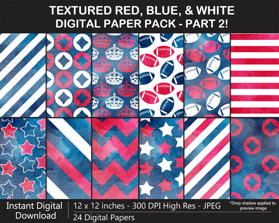 Love these watercolor red, blue, and white pattern digital papers!
