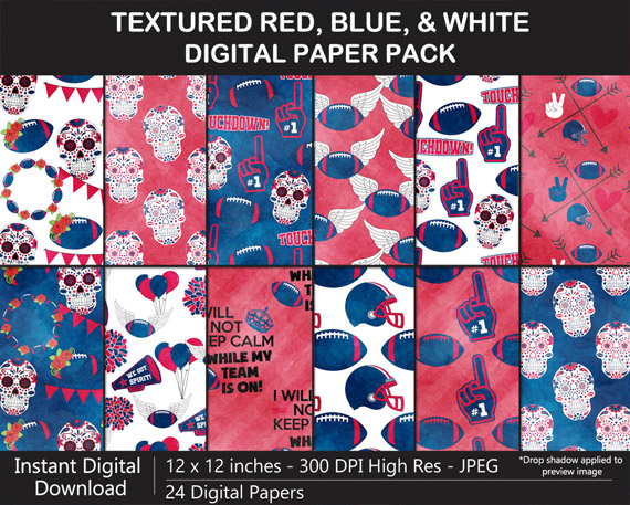 Red, Blue, White Football Digital Paper Pack