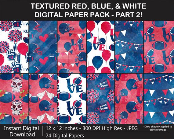 Red, Blue, White Football Digital Paper Pack