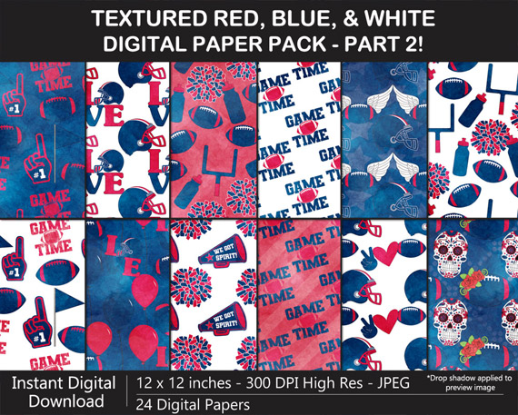 Love these watercolor texture red, blue, and white pattern digital papers!