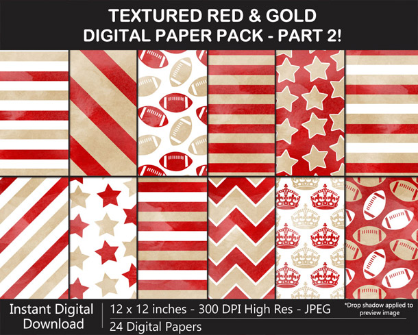 Love these fun watercolor-texture red and gold digital papers!