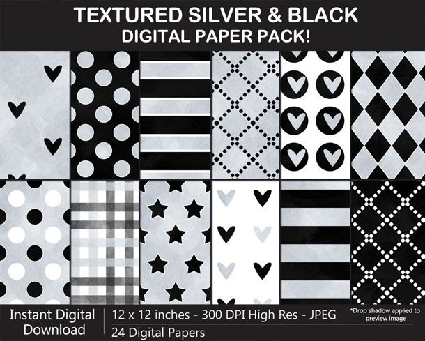 Love these fun watercolor-textured silver and black digital papers!
