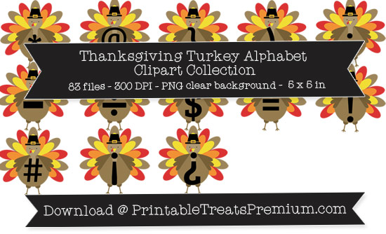 Thanksgiving Turkey Alphabet Clipart Collection