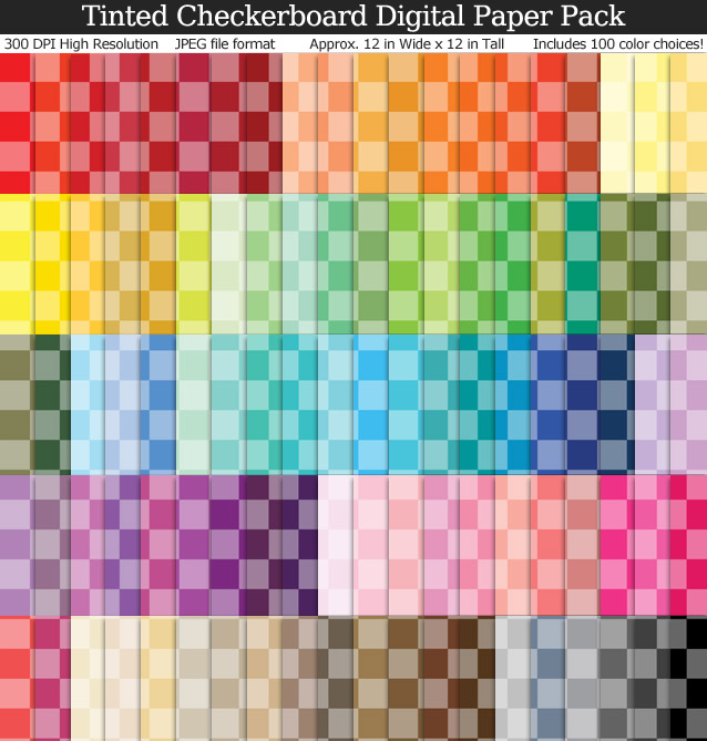 100 Colors Tinted Checkerboard Digital Paper Pack