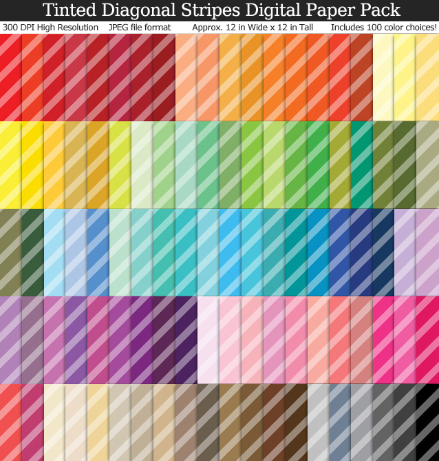 Tinted Diagonal Stripes Digital Paper Pack - 100 Colors!