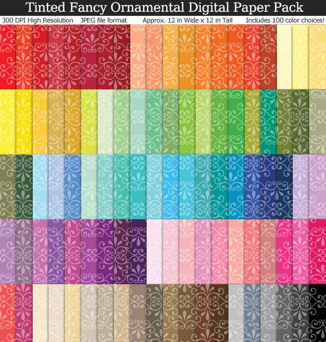 100 Colors Tinted Fancy Ornamental Digital Paper Pack
