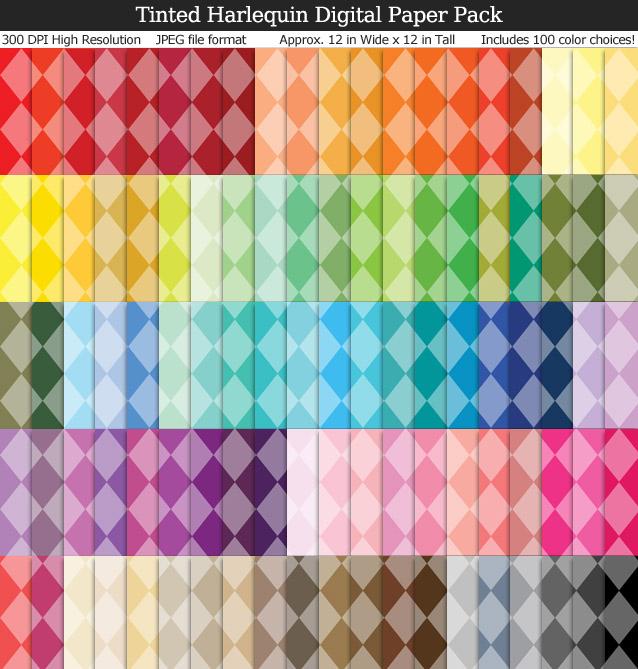 Tinted Harlequin Digital Paper Pack - 100 Colors!