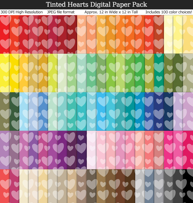 100 Colors Tinted Hearts Digital Paper Pack