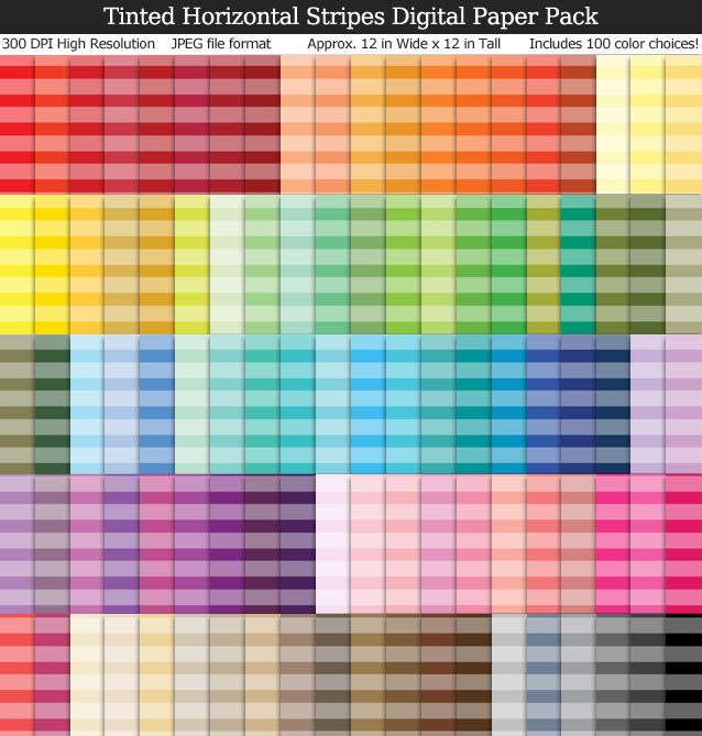 100 Colors Tinted Horizontal Stripes Digital Paper Pack