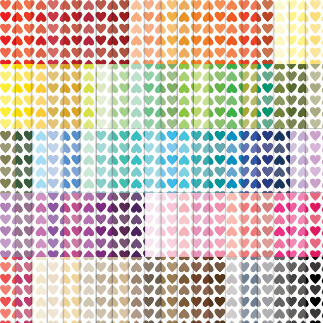 Tinted Lined Hearts Digital Paper Pack - 100 Colors!