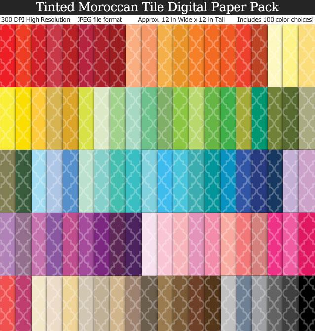 100 Colors Tinted Moroccan Tile Digital Paper Pack