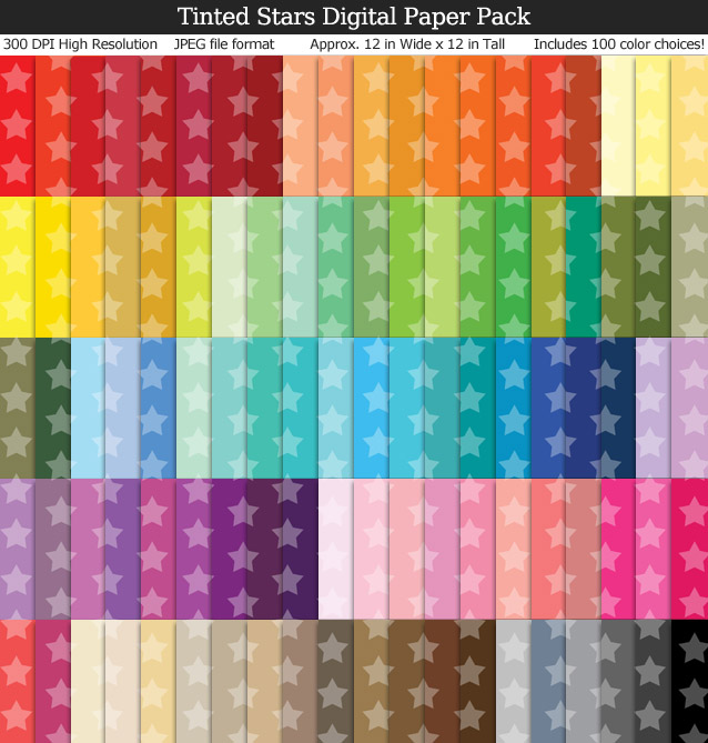 100 Colors Tinted Stars Digital Paper Pack