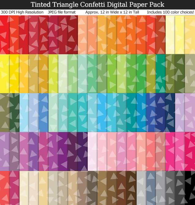 100 Colors Tinted Triangle Confetti Digital Paper Pack