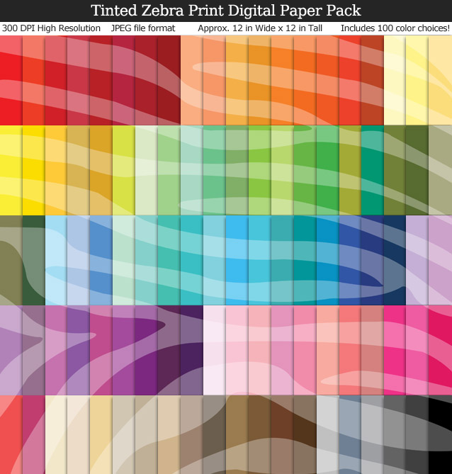 100 Colors Tinted Zebra Print Digital Paper Pack