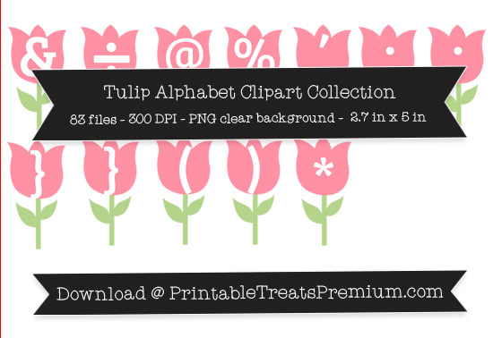 Tulip Alphabet Clipart Collection
