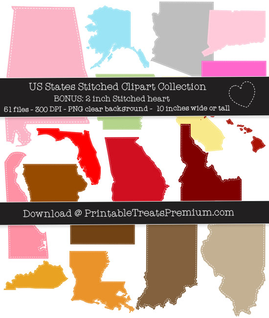 US 50 States Stitched Clipart Collection