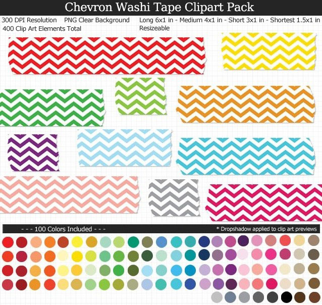 Love these rainbow chevron washi tape clipart for my projects. 100 colors!