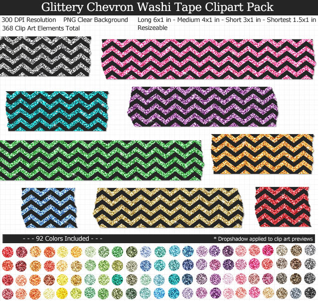 Love these rainbow glittery chevron washi tape clipart for my projects. 99 colors!