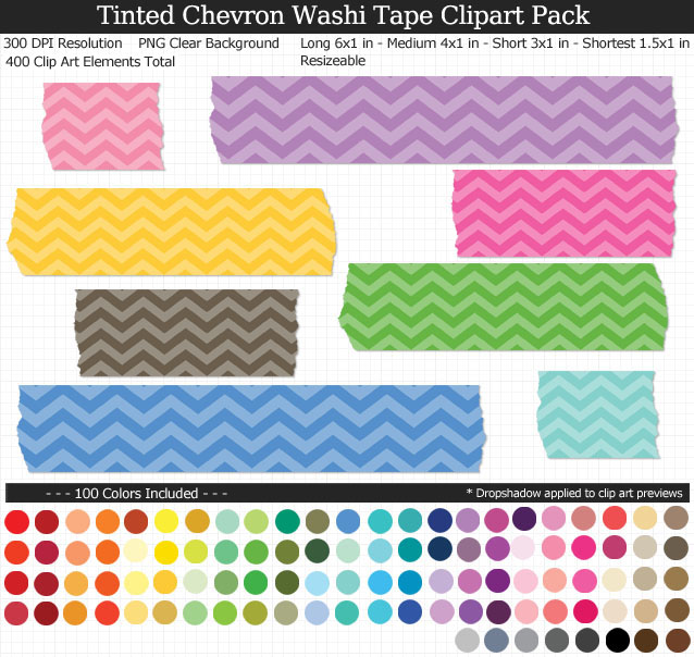 Tinted Chevron Washi Tape Clipart Pack