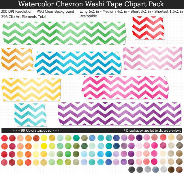 Chevron Watercolor Washi Tape Clipart Pack