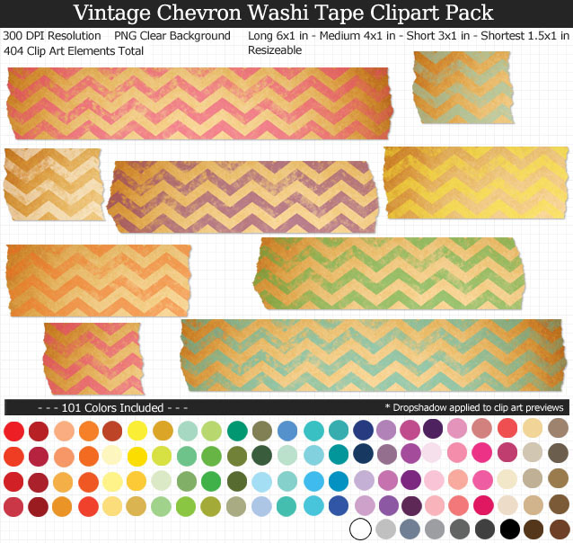 Vintage Chevron Washi Tape Clipart Pack