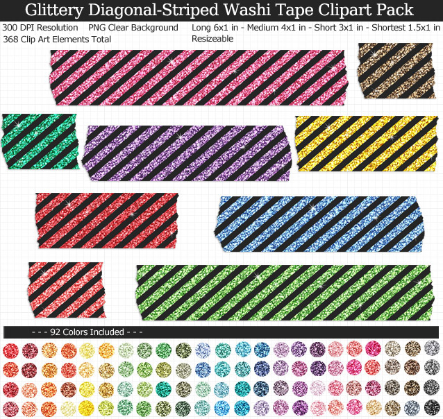 Glittery Striped Washi Tape Clipart Pack
