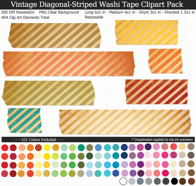 Vintage Striped Washi Tape Clipart Pack