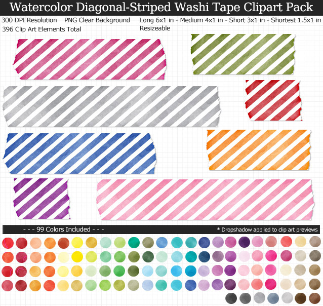 Striped Watercolor Washi Tape Clipart Pack