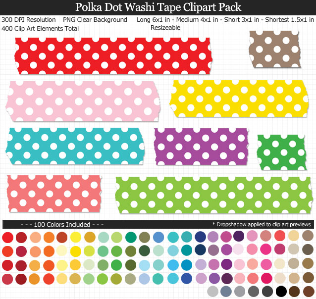 Polka Dot Washi Tape Clipart Pack