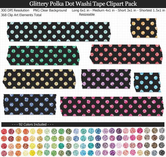 Glittery Polka Dot Washi Tape Clipart Pack