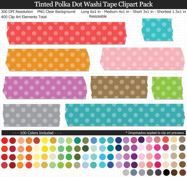 Love these rainbow polka dot washi tape clipart for my projects. 100 colors!