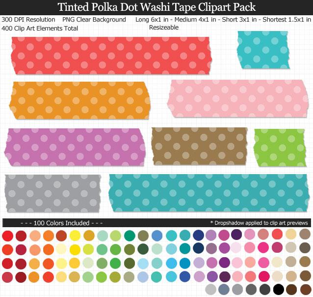 Tinted Polka Dot Washi Tape Clipart Pack