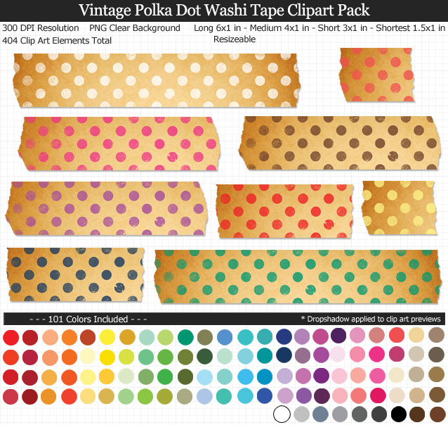 Love these vintage polka dot washi tape clipart for my projects. 101 colors!